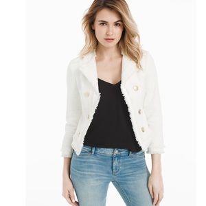 WHBM white tweed admiral jacket